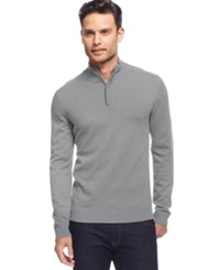 Alfani Black Solid Quarter Zip Sweater Zinc Heather