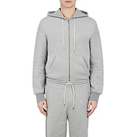 Balenciaga Men's Fleece Zip Front Hoodie Grey Light Grey Grey Light Grey