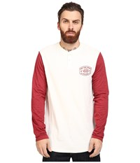 Vans Robles Long Sleeve Henley Marshmallow Red Dahlia Men's Clothing White