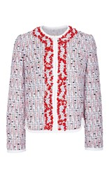 Giambattista Valli Embellished Tweed Jacket Red