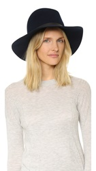 Janessa Leone Leather Band Hat Navy Navy