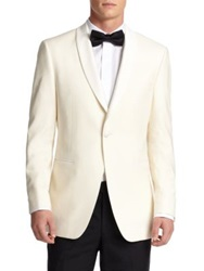 Saks Fifth Avenue Samuelsohn Shawl Collar Wool Dinner Jacket White