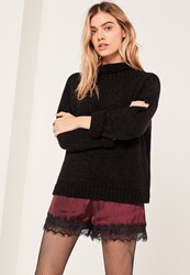 Missguided Black Cosy Funnel Neck Boucle Jumper