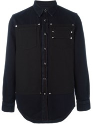Givenchy Contrast Panel Shirt Blue
