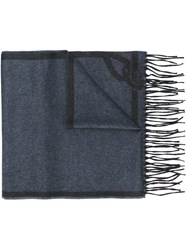Brioni Fringed Scarf Blue