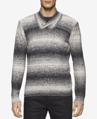 Calvin Klein Men's Space Dyed Shawl Collar Sweater Black White