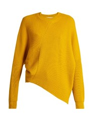 Stella Mccartney Asymmetric Long Sleeved Ribbed Sweater Yellow