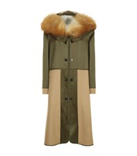 Alexander Mcqueen Fox Fur Hooded Parka Female Green