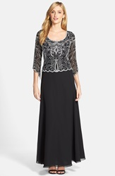 J Kara Scallop Scoop Neck Chiffon Gown Black White Silver