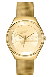 Lacoste 'Valencia' Logo Dial Mesh Strap Watch 38Mm Gold