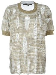 Junya Watanabe Comme Des Gara Ons Distressed Knit Top Nude And Neutrals