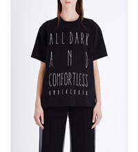 Undercover Shakespeare Text Print Cotton Jersey T Shirt Black