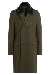 The Kooples Wool Coat With Faux Fur Collar Brown