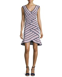 Herve Leger Sleeveless Striped Flounce Dress Dusty Azalea Black Pink