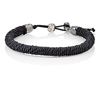 M Cohen M. Men's Royal Garb Sterling And Woven Cord Bracelet Silver