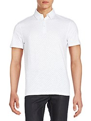 Saks Fifth Avenue Cotton Printed Polo Shirt White Blue