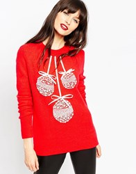 Asos Christmas Jumper With Baubles Red