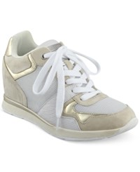 Guess Women's Laceyy Lace Up Wedge Sneakers Women's Shoes White Multi