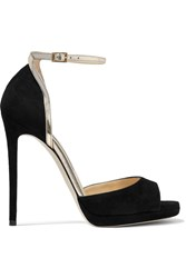 Jimmy Choo Pearl Metallic Leather Trimmed Suede Sandals Black
