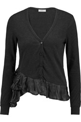 Clu Satin Trimmed Cotton And Cashmere Blend Cardigan Gray