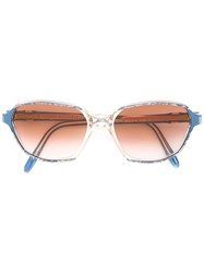 Yves Saint Laurent Vintage Printed Rectangular Frame Sunglasses Blue