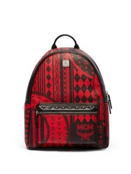 Mcm Stark Coated Canvas Backpack Ruby Red Munich Blue