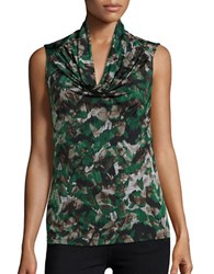 Nipon Boutique Printed Cowlneck Top Evergreen