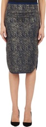 Barneys New York Metallic Quilted Jersey Pencil Skirt Blue