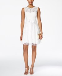 Betsy And Adam Lace Tulle Fit And Flare Dress Ivory