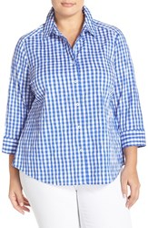 Plus Size Women's Foxcroft Crinkled Gingham Shirt