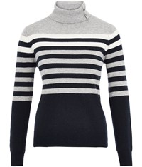 Cc Placement Stripe Roll Neck Jumper Grey