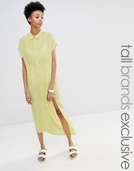 Adpt Tall Side Split Short Sleeve Shirt Dress Lime Yellow
