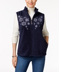 Karen Scott Petite Embroidered Vest Only At Macy's Intrepid Blue