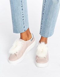 Blink Fur Trim Trainers Pink