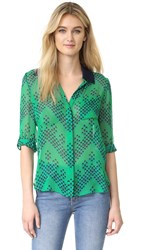 Diane Von Furstenberg Lorelei Two Silk Top Chevron Dots Green