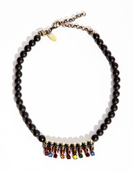 Pixie Market Black Agate Beaded Skull Necklace