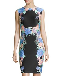 Chetta B Floral Trim Sleeveless Sheath Dress Black Coral