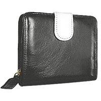 Forzieri Vintage Two Tone Leather Id Wallet With Tab Black