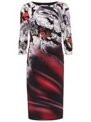 Gina Bacconi Sprayed Floral Jersey Dress Grey