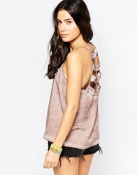 Rvca Sleeveless Swing Top With Cut Out Back Detail Pink