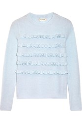 Chinti And Parker Ruffled Ribbed Cashmere Sweater Sky Blue