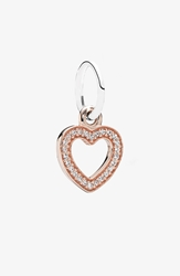 Pandora Design 'Symbol Of Love' Heart Dangle Charm Rose Gold Clear Cz