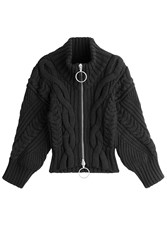 Off White Virgin Wool Turtleneck Cardigan Black