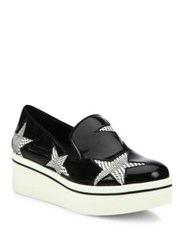 Stella Mccartney Binx Star Patent Faux Leather Platform Loafers White Black