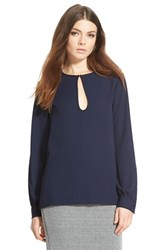 Women's Wayf Keyhole Long Sleeve Blouse Blue