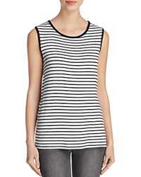 Kim And Cami Striped Lace Back Tank Off White Black