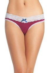 Honeydew Intimates Women's Lace Trim Low Rise Thong Huckleberry