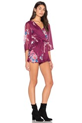 Band Of Gypsies Bouquet Floral Romper Burgundy