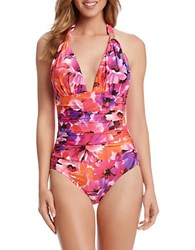 Karen Kane Sarasota Halter One Piece Swimsuit Orange