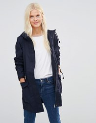 Jdy Longline Parka In Navy Night Sky